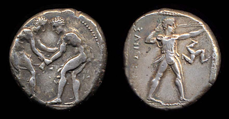 Pisidia, Selge AR Stater Two Wrestlers Grappling
