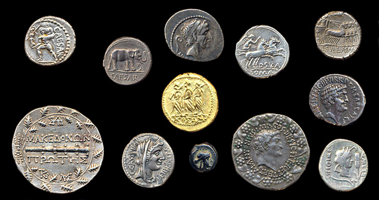 pictures of nice Roman coins including Julius Caesar